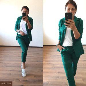 Купить оптом костюм женский из льна цвета зеленого размеров больших в подарок