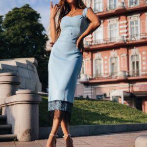 Приобрести в интернет-магазине женское футляр платье с французским кружевом на бретелях голубого цвета дешево