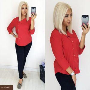 Купить оптом блузку женскую из суперсофта образ стильный цвет красный батал в подарок