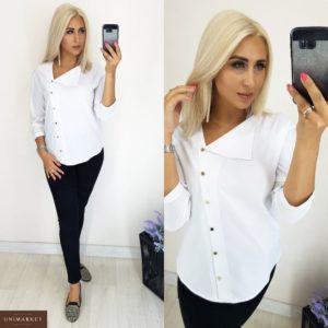 Заказать в интернет-магазине женскую блузку из суперсофта стильный образ цвет белый батал дешево