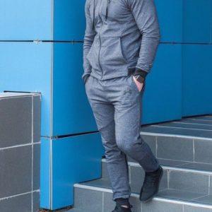 Купить дешево мужской костюм спортивный эластичный плотный трикотаж графитового цвета батал недорого