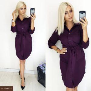 Купить оптом женское платье из коттона - Рубашка цвета марсала батал в подарок