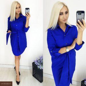 Приобрести дешево женское Рубашка - платье из коттона цвета электрик больших размеров недорого