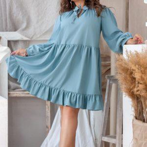 Приобрести дешево женское платье кроя свободного из софта цвета голубого больших размеров недорого