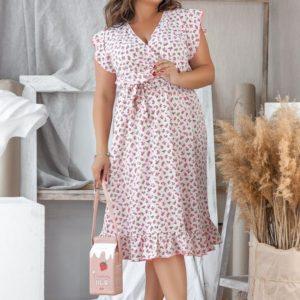 Заказать в интернет-магазине женское платье нежные цветы длина миди из софта цвета розового батал дешево