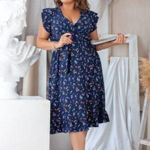 Приобрести дешево женское платье цветы нежные длина из софта миди цвета синего больших размеров недорого