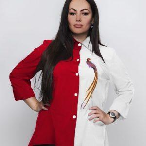 Купить оптом женскую рубашку вышивка двухцветная птичка пояс в комплекте цвета красно-белого батал в подарок