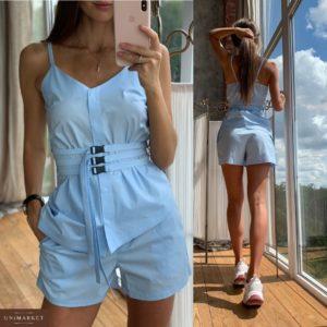 Приобрести в интернет-магазине женский костюм летний: топ + шорты из хлопка цвета голубого дешево