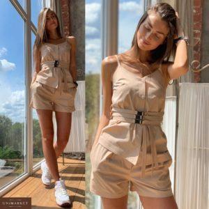 Заказать в подарок женский летний костюм: топ + шорты из хлопка цвета мокко оптом Украина
