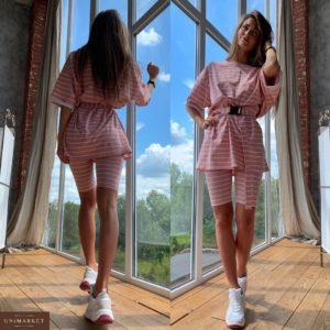 Приобрести дешево женский футболка: костюм + шорты с поясом из трикотажа цвета розового оптом Украина
