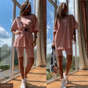 Купить в интернет-магазине женский костюм: шорты + футболка с поясом из трикотажа цвета коричневого недорого