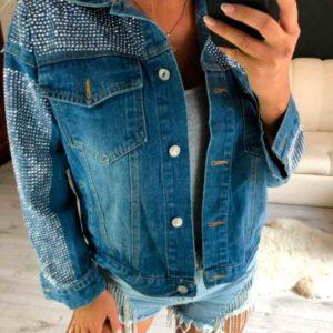 Приобрести в интернет-магазине женскую куртку джинсовую со стразами дешево