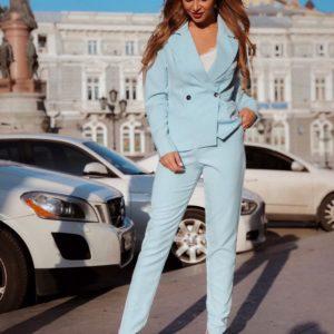 Приобрести дешево женский пиджак стильный и брюки из костюмки barby цвета голубого недорого