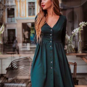 Заказать в интернет-магазине женское платье на пуговицах с широкой юбкой цвета бутылки дешево