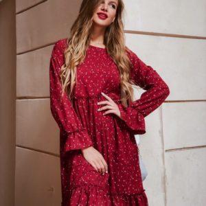 Приобрести дешево женское с длинным рукавом платье с воланами цвета бордового недорого