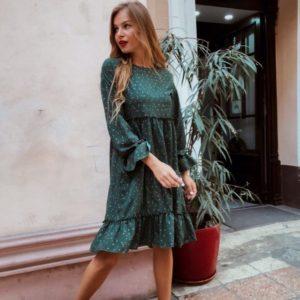 Заказать в интернет-магазине женское платье с длинным рукавом с воланами цвета бутылки дешево