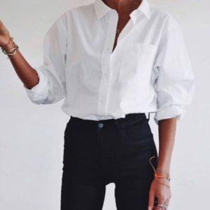 Заказать в подарок женскую рубашку классическую белую с карманом оптом Украина