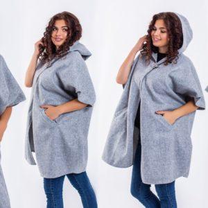 Приобрести дешево женский кейп кардиган из турецкого кашемира цвета серого больших размеров недорого