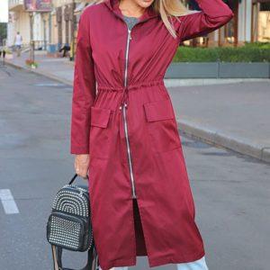 Заказать в подарок женский длинный плащ с капюшоном и карманами цвета бордо оптом Украина