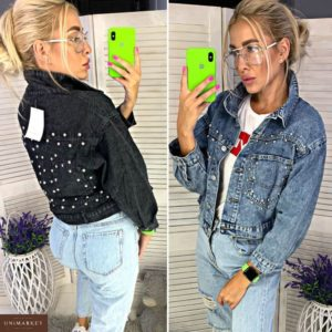 Заказать в интернет-магазине женскую джинсовую куртку с бусинками и карманами цвета синего дешево