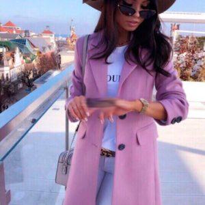 Приобрести дешево женское пальто кашемировое на пуговицах цвета розового недорого