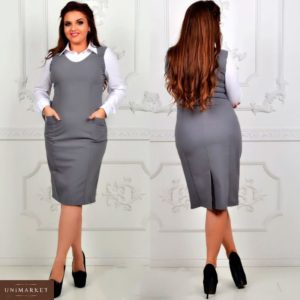 Купить оптом женское платье из Тиара в офис цвета светло серого батал в подарок