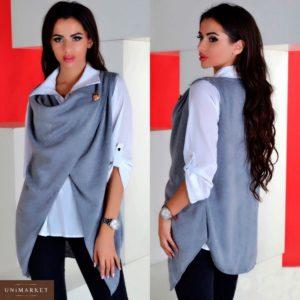 Заказать недорого комплект женский блуза из креп шифона из ангоры кофта цвет серый размеров больших дешево