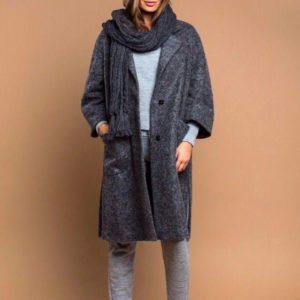 Приобрести в интернет-магазине женское пальто из шерсти валяной с разрезом темно-серого цвета дешево