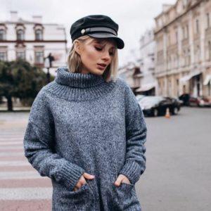 """Заказать в подарок женский вязаный свитер из шерсти """"планета"""" цвета серого батал оптом Украина"""