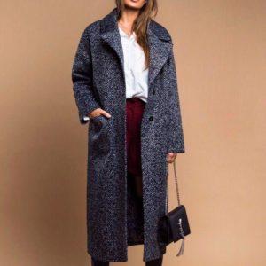 Заказать в подарок женское длинное пальто на дорогой подкладке с отличной посадкой серого цвета оптом Украина