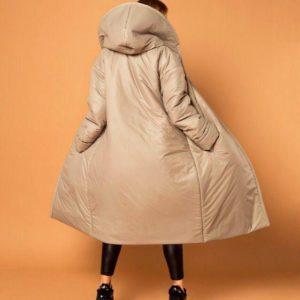 Заказать женское пальто на кнопках из плащевки с капюшоном в цвет оливки недорого