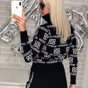 Заказать в подарок женский спортивный костюм givenchy из машинной вязки черного цвета оптом Украина