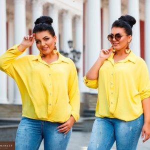 Купить недорого женскую рубашку из льна полированного жатка цвета желтого батал в подарок