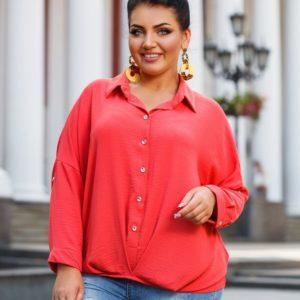 Приобрести рубашку женскую из полированного льна жатка цвета красного батал оптом Украина