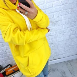 Купить недорого женский свитшот из двухнитки турецкой с капюшоном желтого цвета батал в подарок
