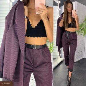 Приобрести в интернет-магазине женский костюм атласный: брюки + пиджак (пояс в комплекте) винный в полоску дешево