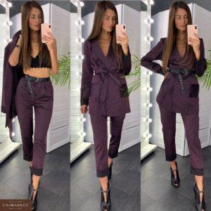 Купить недорого женский атласный костюм: пиджак + брюки (в комплекте пояс) в полоску винный в подарок