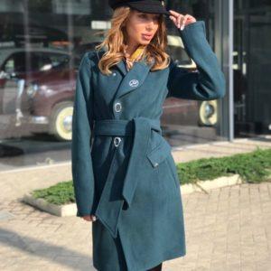 Приобрести пальто женское из кашемира цвета бирюзового застёжка на кнопках батал оптом Украина
