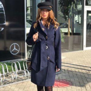 Заказать женское пальто застёжка на кнопках из кашемира цвета темно-синего размеров больших недорого
