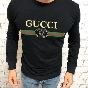 Заказать недорого мужской батник на осень Gucci турция цвета черного в подарок