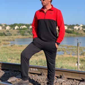 Купить дешево мужской спортивный костюм двухцветный турецкая двунитка черно-красного цвета недорого
