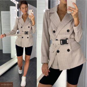 Купить недорого двубортный женский пиджак с поясом в клетку бежевую в подарок