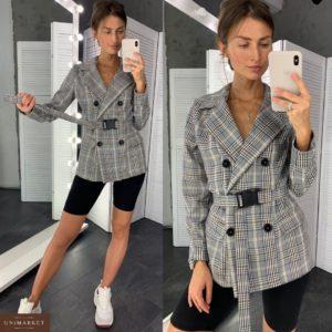 Приобрести в интернет-магазине женский пиджак двубортный в клетку черную с поясом дешево