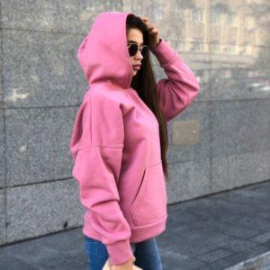 Заказать в подарок женское с капюшоном теплое худи из трехнитки цвета розового недорого