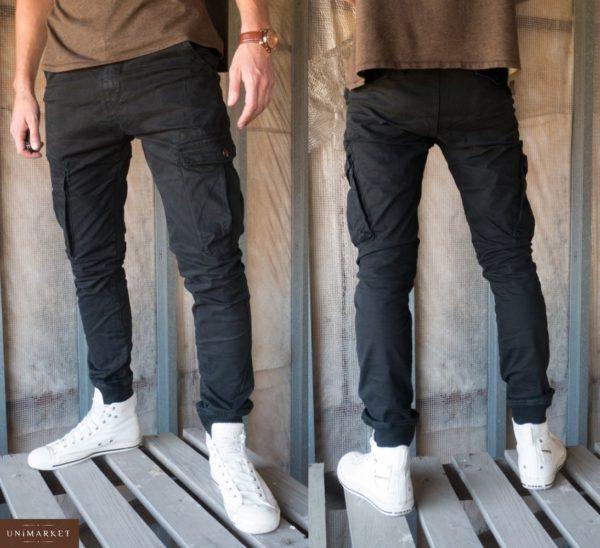 Купить дешево мужские штаны-брюки джоггеры карго с карманами цвета черного недорого