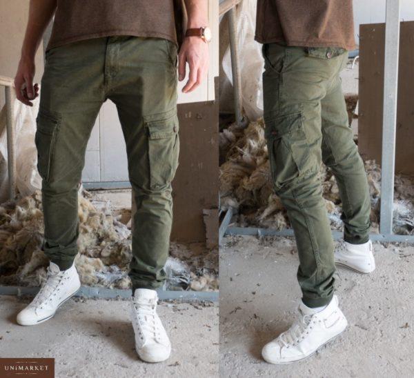 Приобрести в подарок мужские брюки-штаны карго джоггеры с карманами цвета хаки оптом Украина