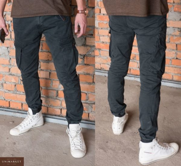 Заказать недорого мужские штаны-брюки с карманами джоггеры карго цвета темно-серого в подарок