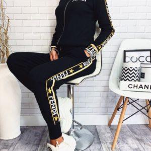 Заказать в подарок женский черный прогулочный универсальный костюм fendi оптом Украина