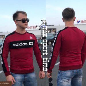 Купить дешево мужской свитшот обтягивающий Adidas турция цвета бордового недорого