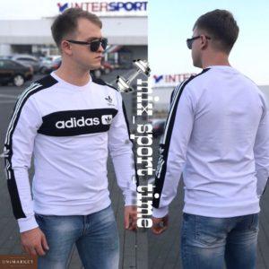 Заказать недорого мужской свитшот Adidas обтягивающий турция цвета белого в подарок
